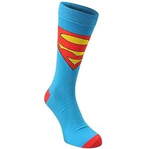 DC Comics Mens Gents 3 Pack Crew Socks Ribbed Trim Superhero Novelty Print