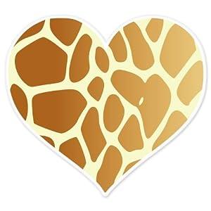 Aninimal Book: Amazon.com: Giraffe Animal Print Heart car bumper sticker ...