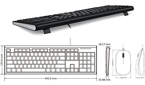 Perixx PERIDUO-211, Wired Keyboard and Mouse Combo - Big