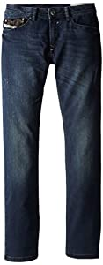 Diesel Big Boys' Waykee Regular Fit Straight Leg Superstretch Treated Dark Denim, Indigo, 14Y
