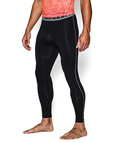 Under Armour Men's HeatGear Armour Compression Leggings, Black/Steel, Large