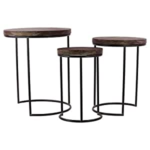 Amazoncom 3 piece nesting tables patio lawn garden for Outdoor patio nesting tables