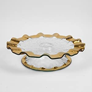Annieglass Ruffle Pedestal Cake Plate