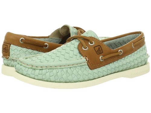 806b4d95aa The Features Sperry Top Sider Women s A O 2 Eye Woven Boat Shoe Turquoise Woven  Tan 11 -