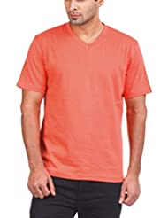 Zovi Men's Cotton Clay Red Solid V-neck T-shirt (10336803001)
