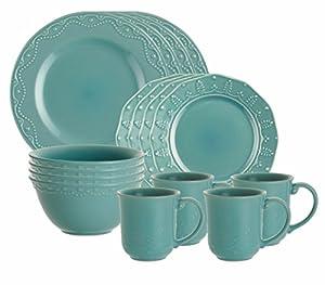 Paula Deen Signature Dinnerware Whitaker 16-Piece Dinnerware Set, Aqua