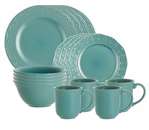 Paula Deen Signature Dinnerware Whitaker 16-Piece Dinnerware Set, Aqua