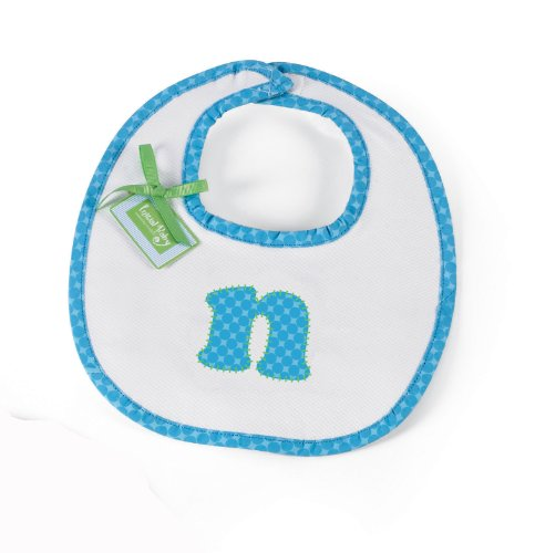 Mud Pie Initial Baby Boy Blue Initial Cotton Bib, Letter N front-855346