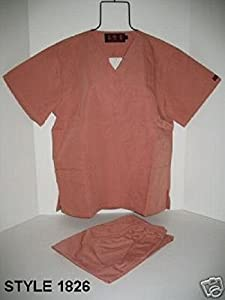 SALMON MEDICAL NURSE SCRUB SET UNIFORM #1826 SMALL