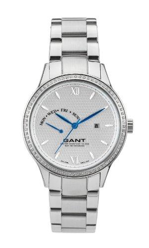 Gant Watches - Reloj analógico de cuarzo para mujer con correa de acero inoxidable, color plateado