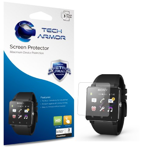 Tech Armor Sony SmartWatch 2 Anti-Glare/Anti-Fingerprint (Matte) Screen Protectors [3-Pack] Lifetime Warranty