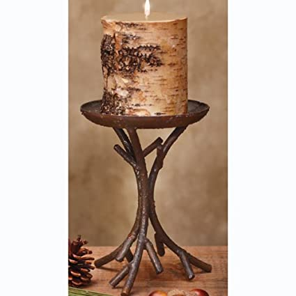 Modern Lodge Brown Rustic Aspen Tree Branch Set of 2 Pillar Candle Holders