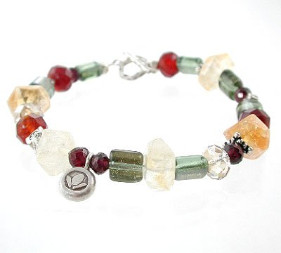 Garnet, Citrine and Swarovski Austrian Crystal, and Czech Glass Jewel Toned Gemstone Beaded Toggle Bracelet with Sterling Silver Lotus Flower Charm, 7 1/2