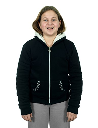 Girl's Zip-up Fleece Hoodie with Sherpa Lining (10, Black)