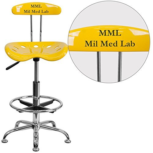 Flash Furniture Personalized Vibrant -Yellow and Chrome Drafting Stool with Tractor Seat, Orange