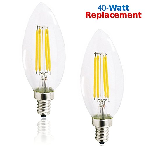 Luxrite LR21252 (2-Pack) 4W LED Filament Candelabra Bulb, 40W Equivalent LED Candle Bulb, Warm White 2700K, 350 Lumens, 270° Beam Spread, Torpedo Shape, E12 Base (Lightbulb Type B compare prices)