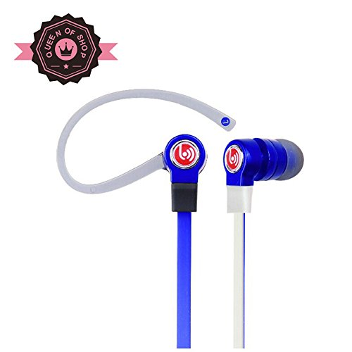 Bhbm200 Blue High Performance In Ear Headphones With Built-In Mic And Tangle-Resistant Wired Headset Earbuds