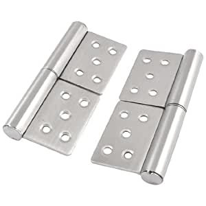 5Silver Tone Metal 360 Degree Rotating Cabinet Door Flag Hinge 2 Pieces
