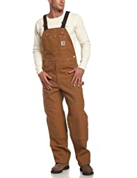 Carhartt Men\'s Duck Bib Overall Unlined R01,Brown,46 x 32