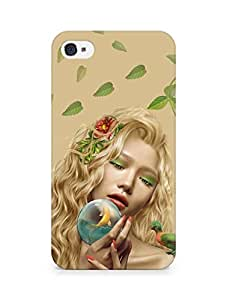 Amez designer printed 3d premium high quality back case cover for Apple iPhone 4s (Girl mysterious leaves parrots dryad)