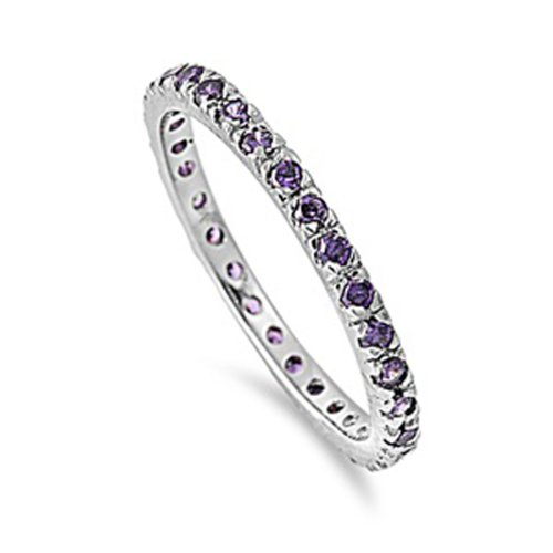 1.00 CT Sterling Silver Rhodium Plated Round Purple Amethyst CZ Cubic Zirconia Ladies Eternity Stackable Ring Wedding Anniversary Band (Available in size 6, 7, 8) size 9