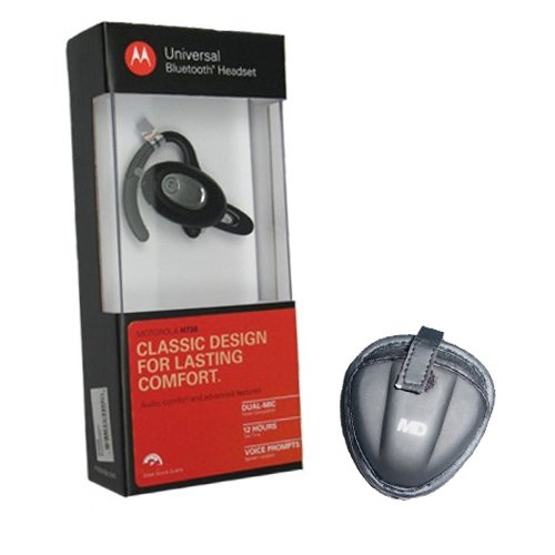 Motorola H730 Wireless Bluetooth Headset With Malcom Distributors Md Blt-04 Blt04 Bluetooth Headset Eva Carrying Pouch Case