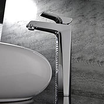 Ding Contemporary Chrome One Hole Single Handle Waterfall Bathroom Sink Faucet