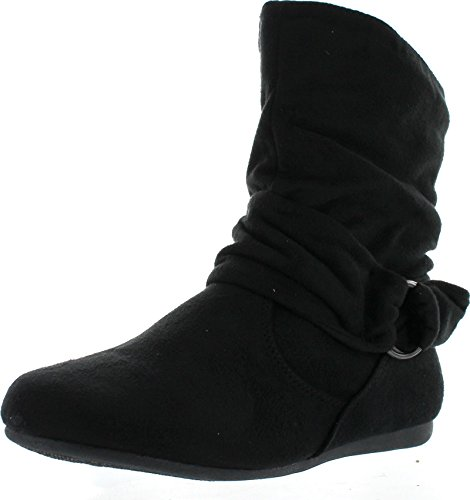 Womens-Fashion-Calf-Flat-Heel-Side-Zipper-Slouch-Ankle-Boots