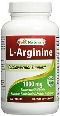 L-Arginine 1000 mg 120 Tablets - #1 Pharmaceutical Grade Essential Amino Acid - Cardiovascular Health Support Formula - L Arginine Enhances Circulation. by Best Naturals