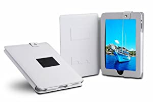 Deluxe Leather multi-view Case/Folio with Stand Feature for Apple iPad 16GB/ 32GB/ 64GB WiFi and Wifi 3G (White)