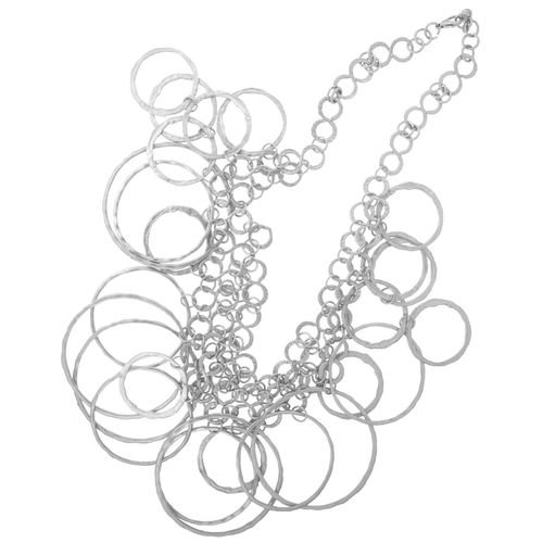 Multi-Ring Necklace, Awesome! Vibe Vixen In Silver Tone with Matte Finish