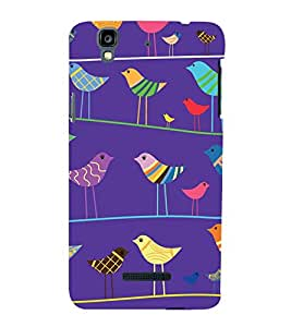 animated colourful birds in blue background 3D Hard Polycarbonate Designer Back Case Cover for YU Yureka::Micromax Yureka AO5510