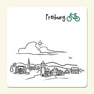 """Untersetzer """"Skyline Freiburg"""" (weiß) - als Geschenk für Breisgauer & Fans der Stadt am Fuss des Schwarzwalds oder als Freiburg Souvenir - die stadtmeister"""
