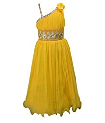 Motley Girls' Dress (7-8-M041_6-7 Years_Yellow_6-7 Years)