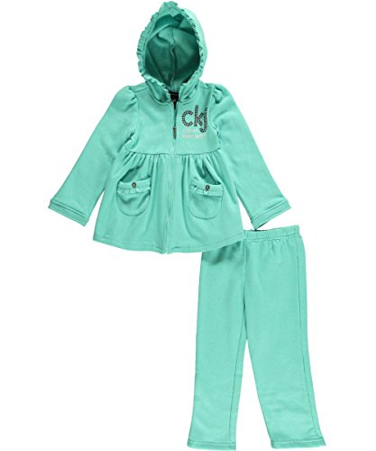 Calvin Klein Little Girls' Hoody With Pull On Pants, Green, 4T front-744292