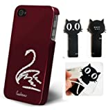Collection&Joy Swan diamond Bling White Crystal Rhinestone Apple Phone Case cover + Cord Wrap for Headphone or Cable Wire (iPhone 4/4s, Wine red)