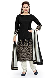 Black Banglori Silk Embroidered Unstitched Dress Material