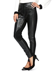 M&S Collection Front Leather Panelled Ponte Treggings