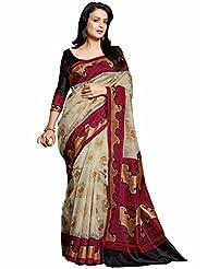 Vipul Minakari Silk Beige Traditional Print Saree With Exclusive Foil