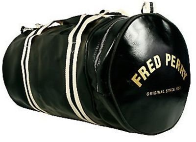 Fred Perry Contrast Black and Gold Barrel Bag