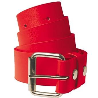 Ceinture en cuir pour Femme et Homme Masterdis Pin Belt Buckle rouge