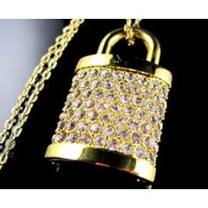 8 Gb lock Shape Crystal Jewelry USB Flash Drive Necklace - golden