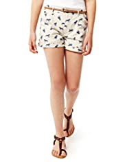 Pure Cotton Pony Print Shorts with Belt
