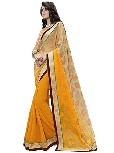 Lovely Look Latest collection of Sarees in Georgette & Brasso Fabric & in attractive Yellow Color