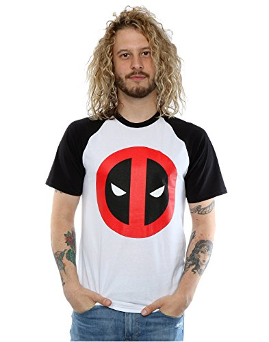Marvel Uomo Deadpool Clean Logo Baseball T-shirt Small Bianco nero