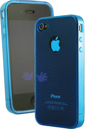 Novacruz Blue Apple Iphone 4 4g 4th Tpu Silicone Case Cover With Circle Wave Design
