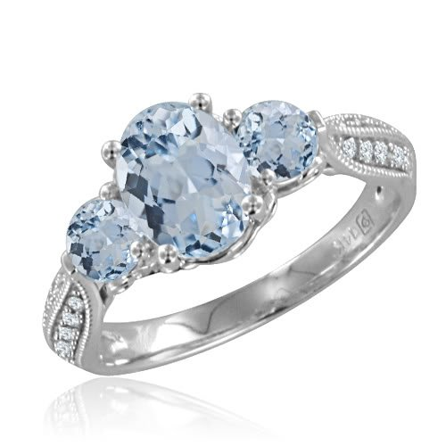 3 Stone Natural Aquamarine and Diamond Ring in 14k White Gold (H, SI2, 1.60 cttw) Certificate of Authenticity
