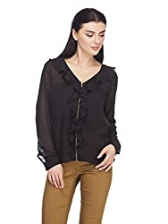 Femella Women' s Black ruffle zip up shirt( DS-1478431-951_BLACK_MEDIUM)