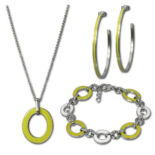 Amello Parure in acciaio inox smaltato ovale giallo Set Parure Composta da collana, braccialetto, orecchini, Stainless Steel essg02y