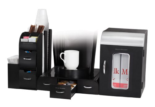 Mind Reader Breakroom 3-Piece Mini Fridge and Coffee Station Set, Black (Breakroom Fridge compare prices)